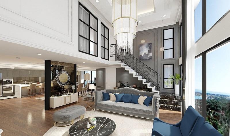 Không gian rộng rãi của căn hộ Duplex