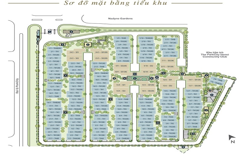 Mặt bằng thiết kế tiểu khu Evelyne Gardens Park City Hanoi