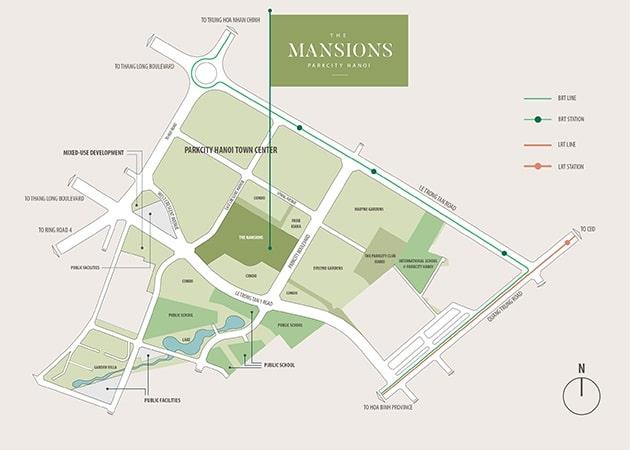 Vị trí tiểu khu Mansions - Parkcity Hanoi