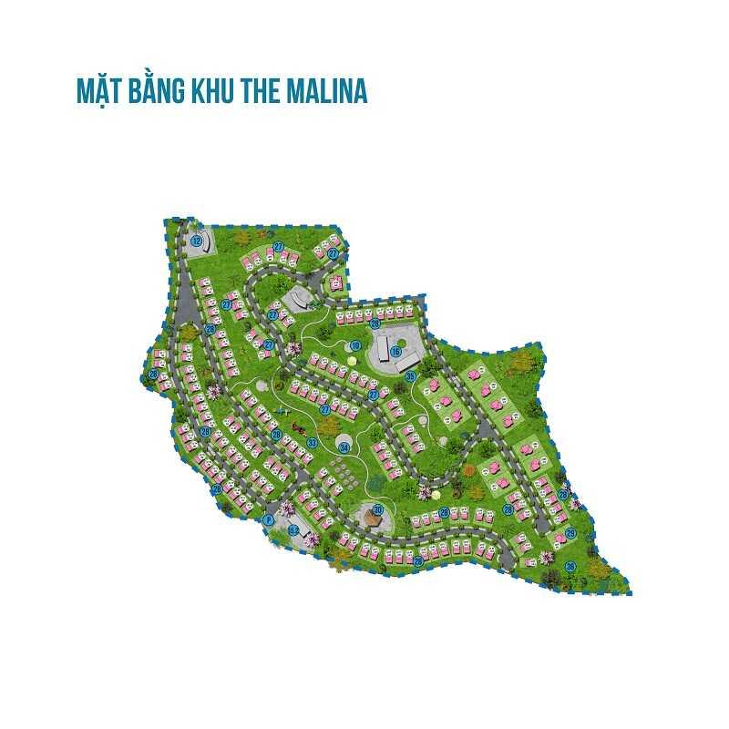 Mặt bằng khu The Malina của dự án Ivory Villas & Resort Lâm Sơn