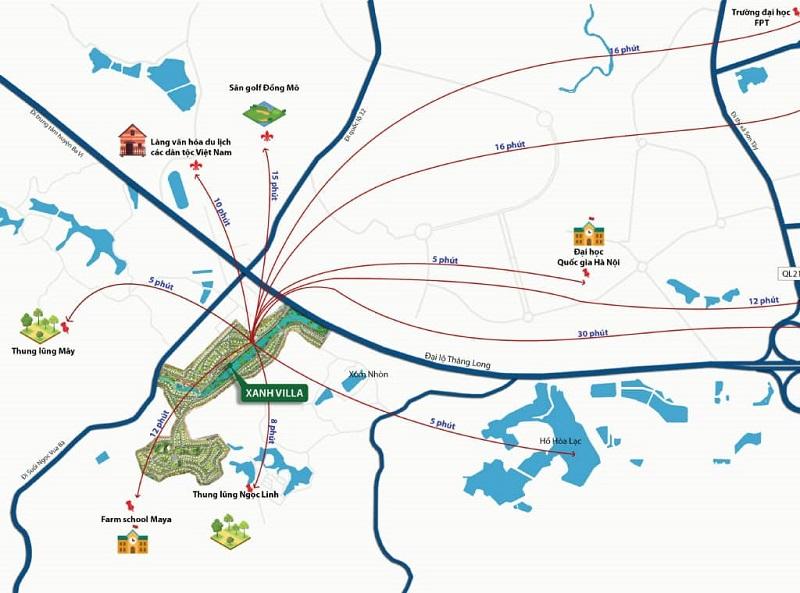 Vị trí dự án Xanh Villas Resort thuộc khu đô thị CNC Hòa Lạc