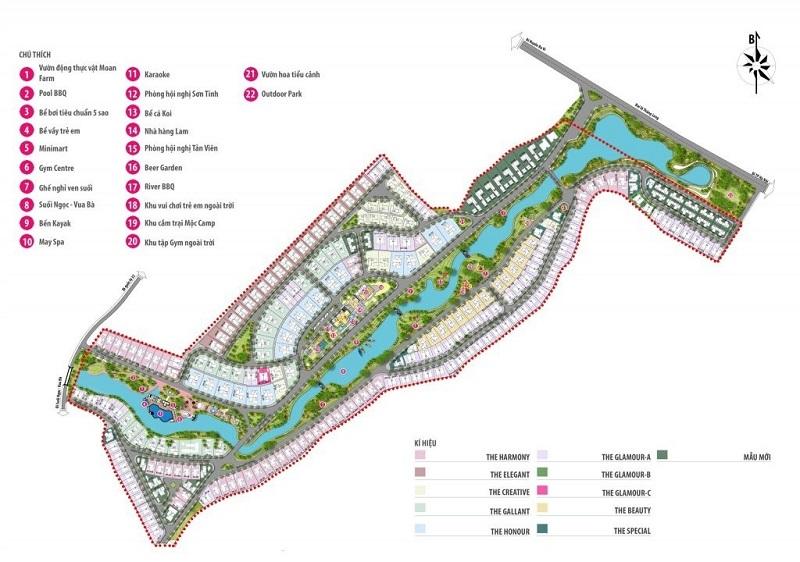 Mặt bằng tổng thể dự án Xanh Villas Resort Hà Nội