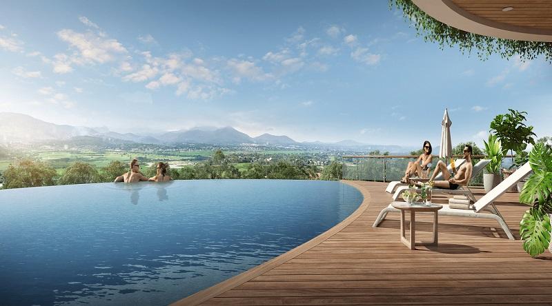 Bể bơi vô cực tại khu nghỉ dưỡng Legacy Lương Sơn Hòa Bình